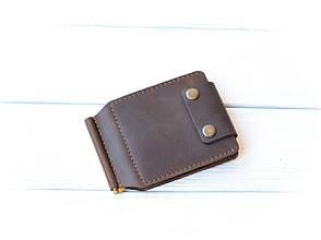 Кожаный зажим для денег на две кнопки с отделениями для карт