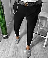 Мужские брюки скини зауженные черного цвета
