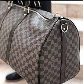 Сумка Louis Vuitton Keppall кожаная,50 см, серая шахматка, Люкс