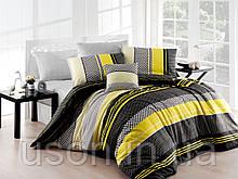 Комплект постельного белья ранфорс  Nazenin евро размер Zigo gri