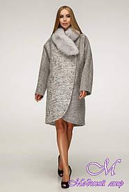Женское серое зимнее пальто с мехом (р. 44-58) арт. 1212 Тон 3