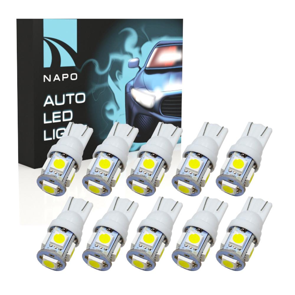 Автолампа диодная T10-5050-5smd, комплект 10 шт, W5W, T10, цвет свечения белый