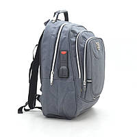 Практичный рюкзак для ноутбука,уплотненная спинка . Серый.