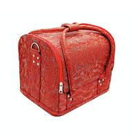 Чемодан кейс текстурный змеиный принт, маникюрная сумка для мастера, кож.зам, красный цвет, фото 1