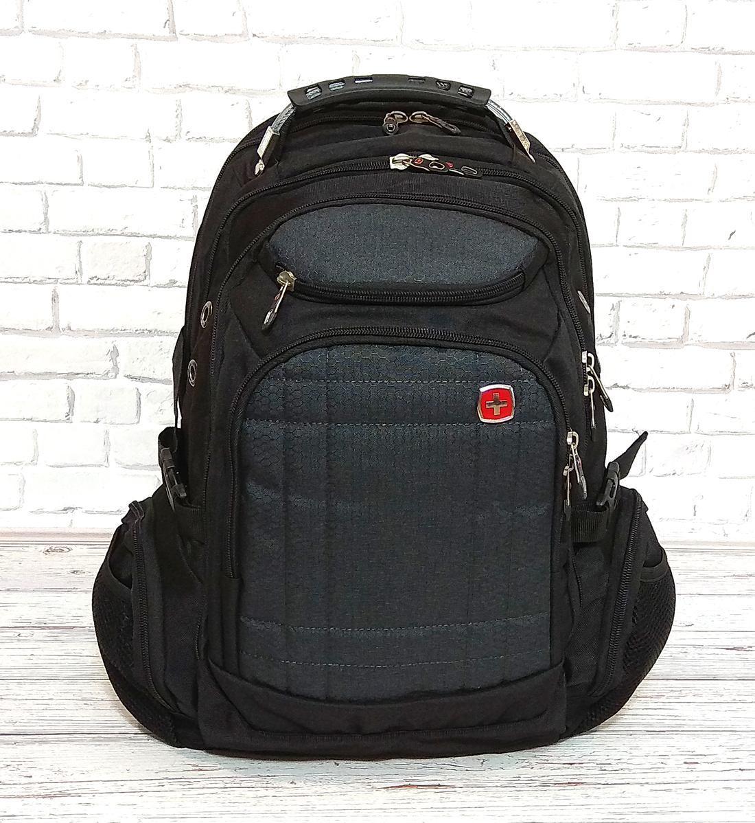 Вместительный рюкзак школьный рюкзак SwissGear Wenger, свисгир. Черный с серым + Дождевик.
