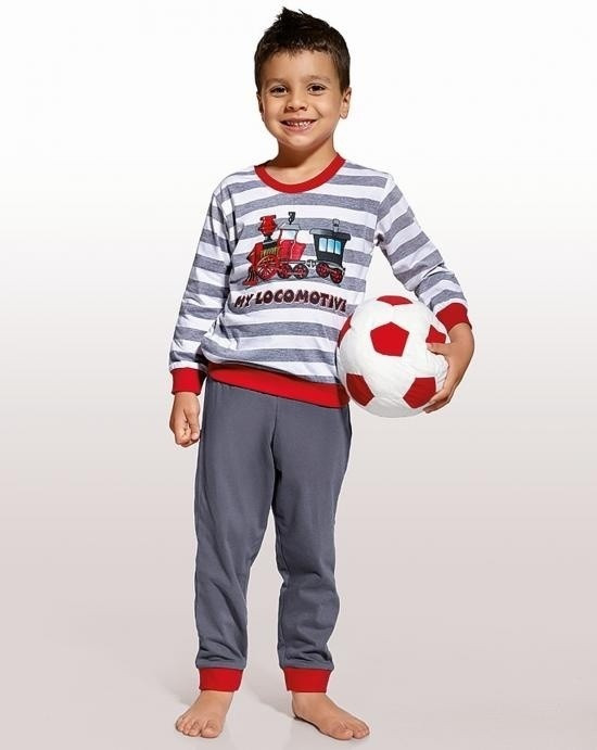 Дитяча піжама для хлопчика з паровозом CORNETTE Польща LOCOMOTIVE сіро-червона 98 -104 см
