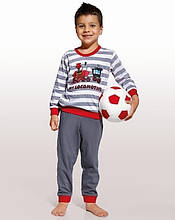 Детская пижама для мальчика с паровозом CORNETTE Польша LOCOMOTIVE серо-красная 98 -104 см