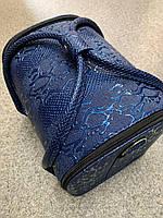 Чемодан кейс текстурный змеиный принт, маникюрная сумка для мастера, кож.зам, темно-синий цвет, фото 1