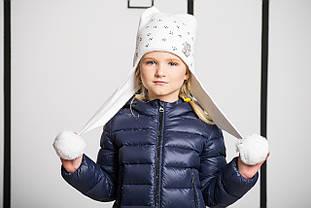Дитяча шапка для дівчинки із зав'язками та вушками кішки NIKOLA Україна 15Z-260 біла 52-24 см