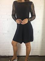 Платье женское с гипюром черное 40 (46)
