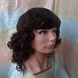 Парик из натуральных волос удлиненный каскад шоколадный ANGELIKA- 4, фото 5