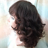 Парик из натуральных волос удлиненный каскад шоколадный ANGELIKA- 4, фото 7