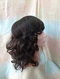 Парик из натуральных волос удлиненный каскад шоколадный ANGELIKA- 4, фото 3