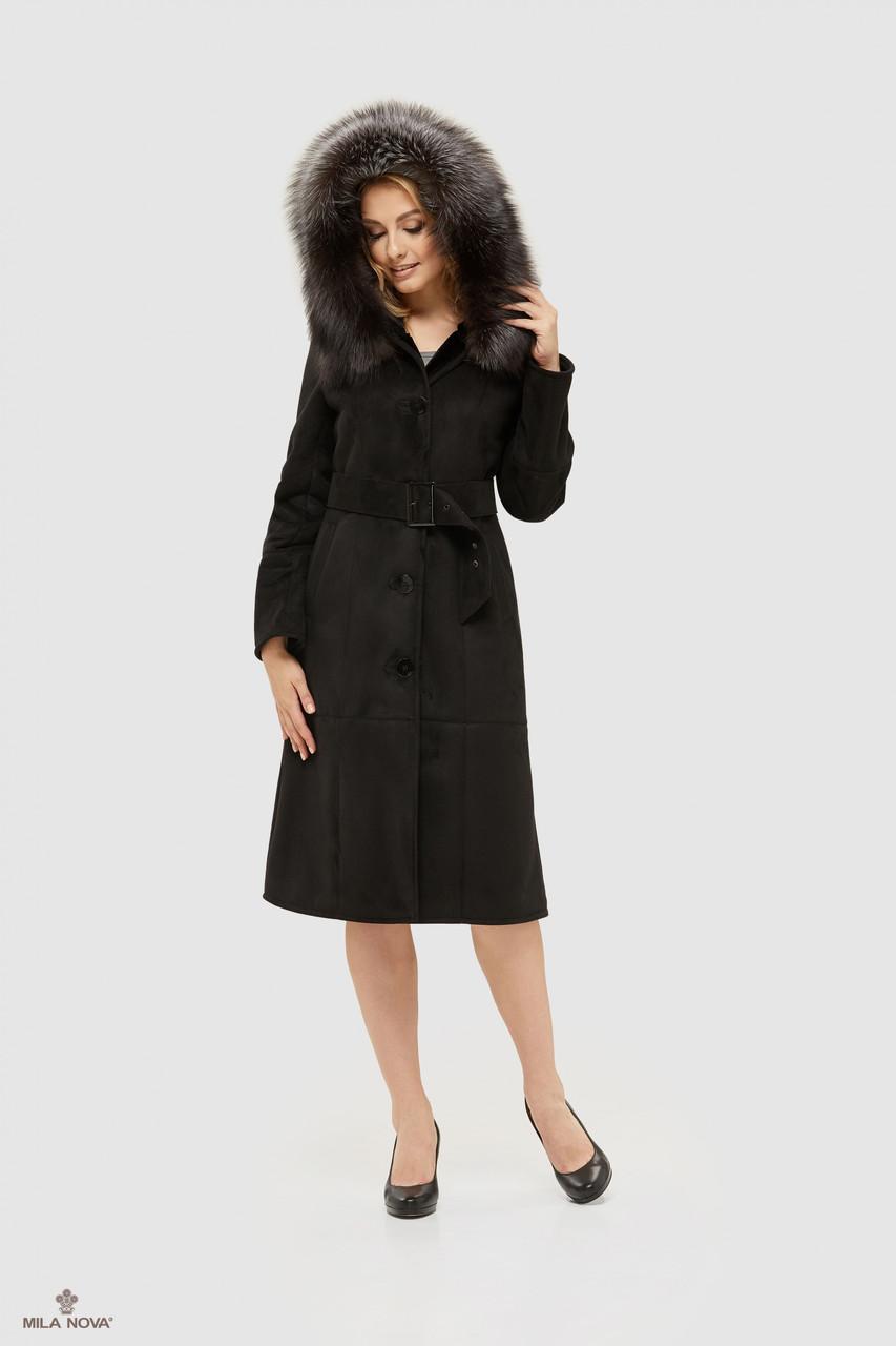 Дубленка черная женская с капюшоном 148