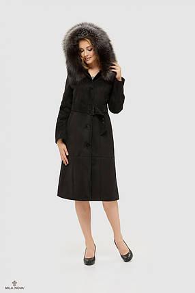 Дубленка черная женская с капюшоном 148, фото 2