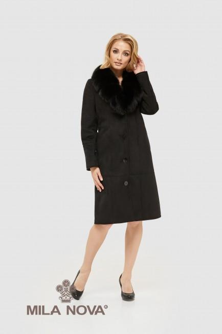 Дубленка черная женская с пышным капюшоном размеры 44 46 48 50 52 54 56