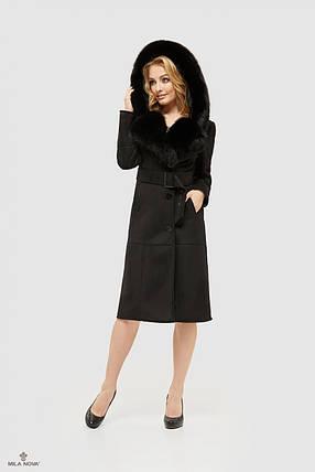 Дубленка черная женская с пышным капюшоном размеры 44 46 48 50 52 54 56, фото 2