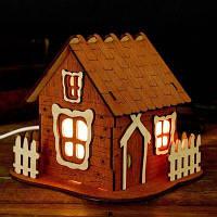 """Соляная лампа светильник """"Домик"""" с кристаллами , деревянный декор"""