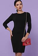Классическое платье до колен по фигуре рукав три четверти цвет черный