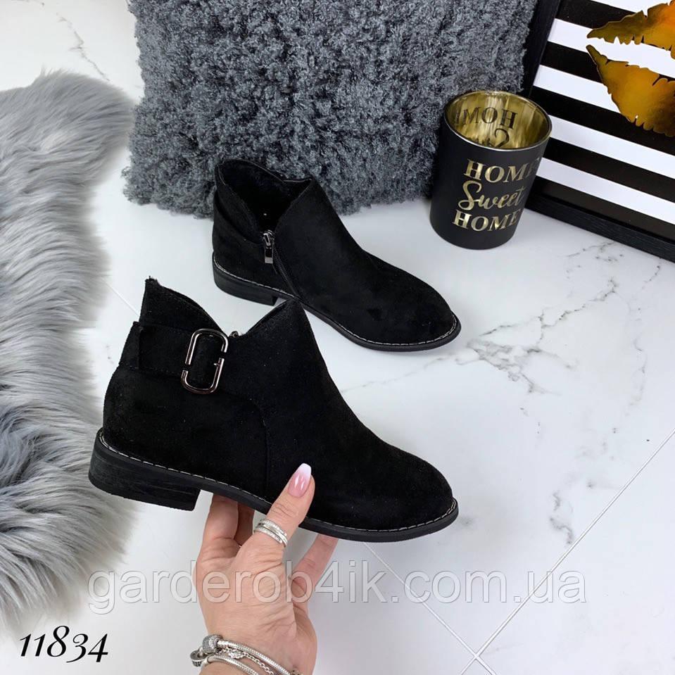 Женские осенние ботинки, эко замш
