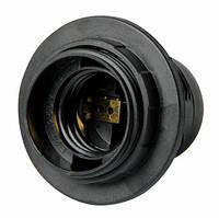 Патрон пластиковый Е27 с гайкой, черный e.lamp socket with nut.E27.pl.black