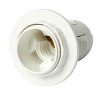 Патрон электрический пластиковый с гайкой, белый e.lamp socket with nut.E14.pl.white