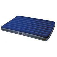 Надувной полуторный матрас велюровый синий 68758 SH INTEX 137-191-22 см