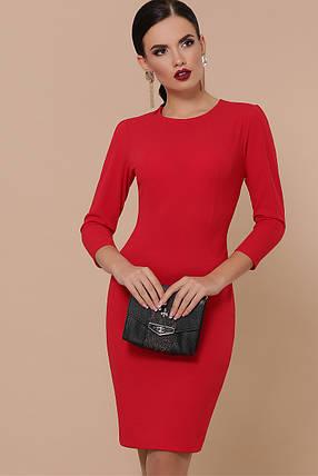 Облегающее платье до колен рукав три четверти цвет красный, фото 2