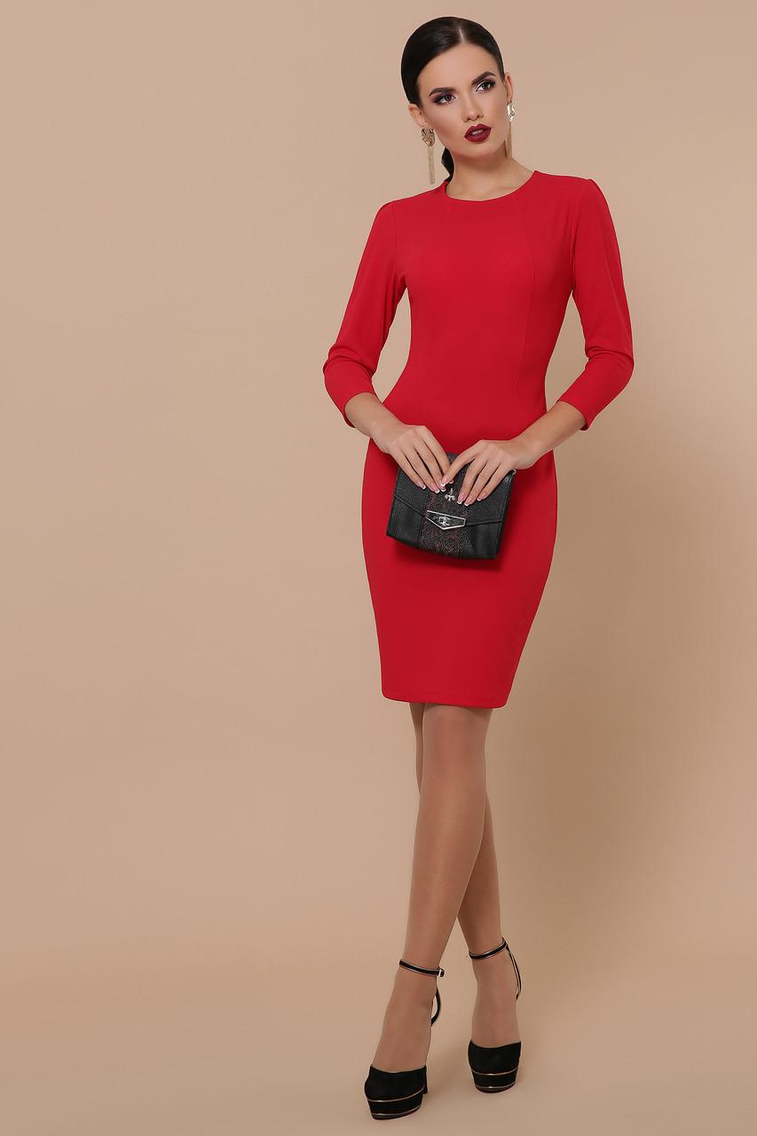 Облегающее платье до колен рукав три четверти цвет красный