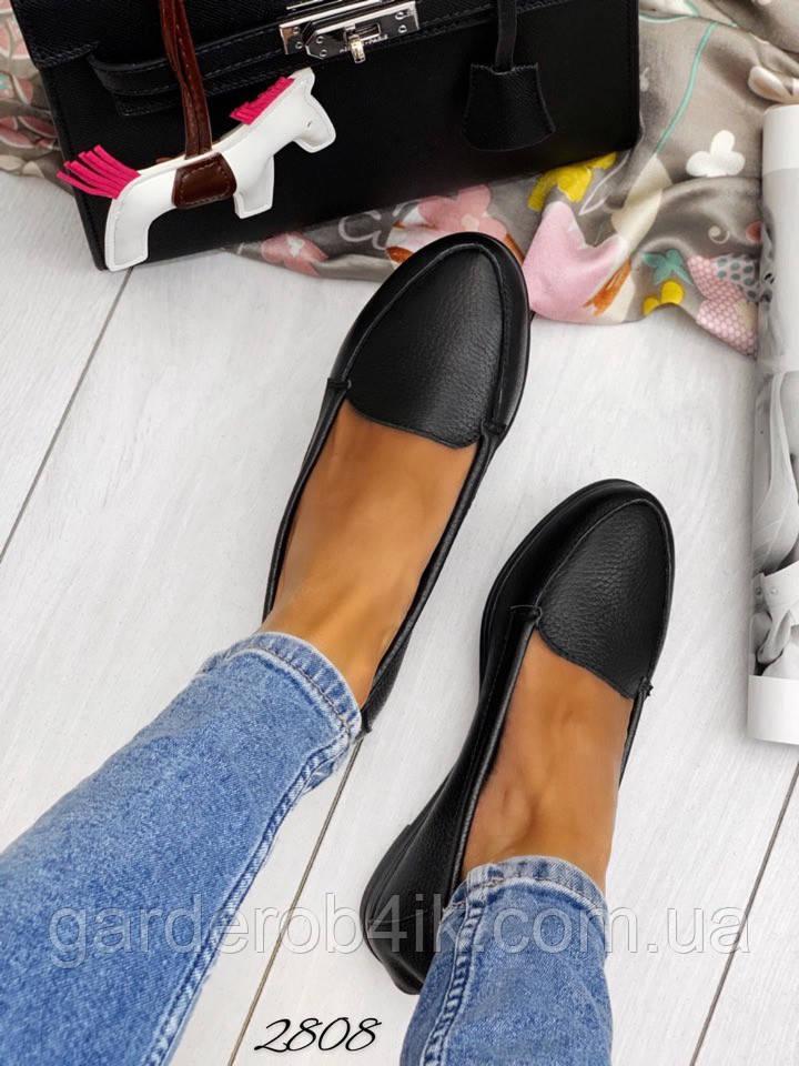 Женские туфли черные натуральная кожа