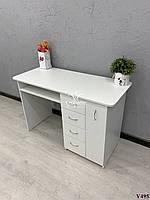 Стационарный маникюрный стол с полкой под столешницей. Модель V495 белый, фото 1