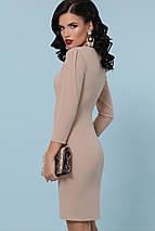 Платье по фигуре классического кроя цвет бежевый, фото 3