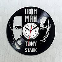 Часы Железный человек Тони Старк силуэт Tony Stark часы Iron Man виниловые часы Часы настенные 30 сантиметров