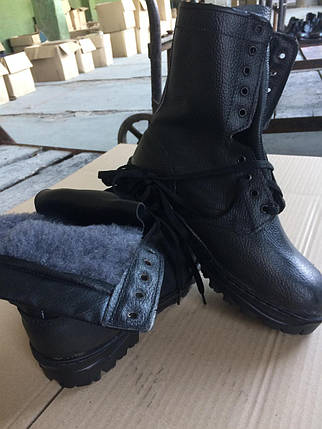 Ботинки (берцы) комбинированные (юфть+кирза) ВФ утепленные (Мех) ОМОН Бортопрошивные черные, фото 2
