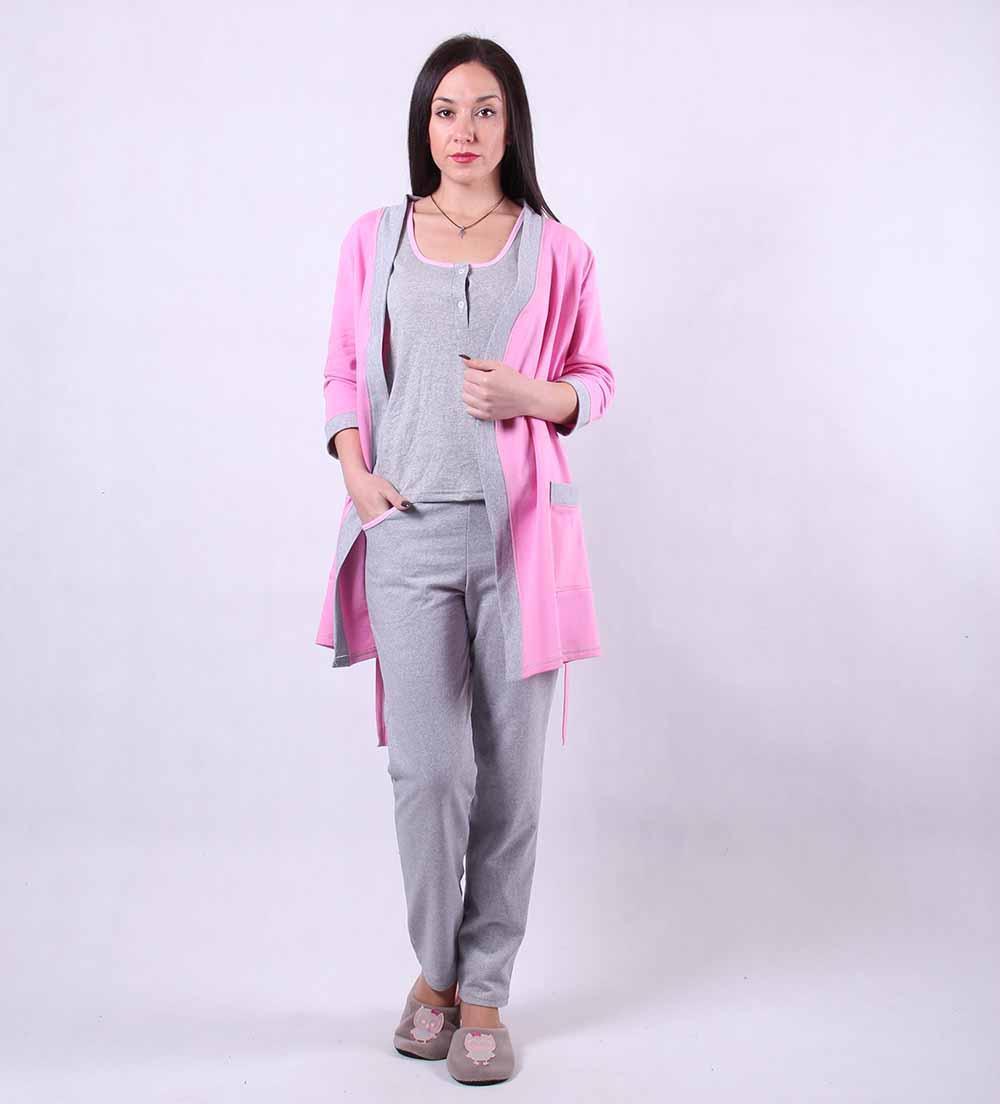 """Теплый комплект тройка халат с пижамой """"Gray"""" р.42-50"""