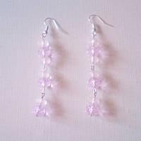 Серьги длинные - розовый кварц, чешское стекло