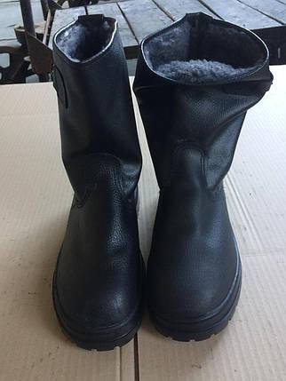 Сапоги укороченные юфть/кирза ВФ рабочие с пряжкой утепленные (Мех) Бортопрошивные черные, фото 2