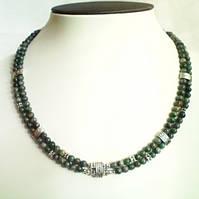Бусы, браслет, серьги - зеленая яшма.