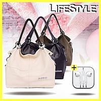Женская кожаная сумка через плечо Weidipolo + наушники Apple в Подарок