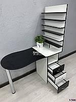 Маникюрный стол со складной столешницей. Модель V500 белый / черный, фото 1