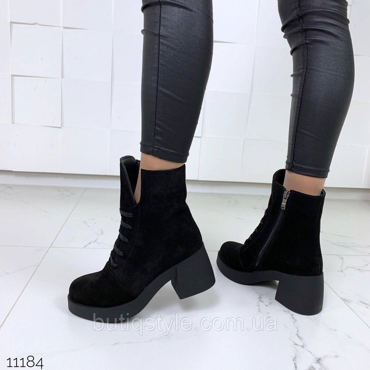 Женские черные ботинки на небольшом каблуке натуральная замша Деми