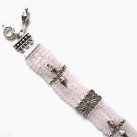 Колье, браслет, серьги - розовый кварц