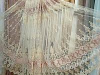"""Тюль в зал, спальню, гостиную """"Бурже"""" фатин вышивка с бархатом велюром, золото / розовый"""
