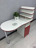 Маникюрный стол со складной столешницей Модель V501 красно-белый, фото 1