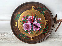 Настенные часы с ручной росписью d 25 см, фото 1