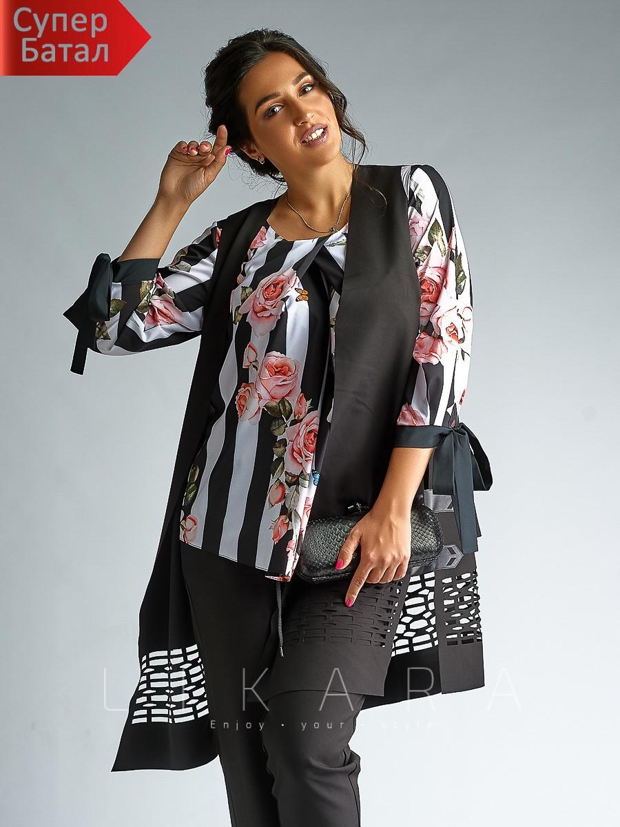 Оригинальный женский брючный костюм тройка с блузой и удлиненным жилетом-кардиганом, батал большой размер