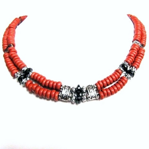 Бусы, браслет, серьги - рыжая керамика, гематит