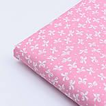 """Сатин ткань """"Густые бантики и точки"""" белые на розовом, № 1761с, фото 4"""