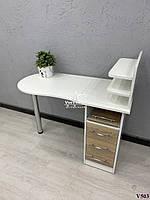 Маникюрный стол со складной столешницей. Модель V503 белый / дуб сонома, фото 1