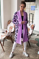 Вязаное пальто с леопардовым принтом«Лео»